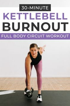 Get a full body burn with this KETTLEBELL WORKOUT! 30 minutes of full body strength and cardio kettlebell exercises you can do at home! #kettlebell #kettlebellworkout #burnout