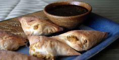Chickpea and Potato Samosas with Cilantro Tamarind Sauce