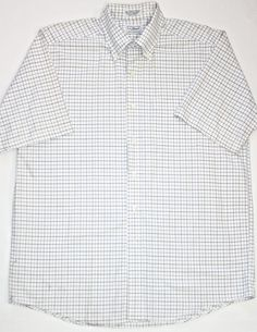 Vintage Mens White Short Sleeve LL Bean Button Down Shirt available at VintageMensGoods, $36.00