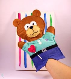 Tarjeta marioneta Papá Oso de ♥ ♥ ♥ Rosecat-Handmade ♥ ♥ ♥  por DaWanda.com