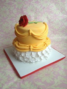 Beauty and the Beast Belle's Gown Disney Cake- Disney EveryDay.Com -for reference only no recipe or instructions