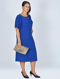 Nidya Moda - Nidya Moda büyük beden Aksesuarlı Sandy Elbise-4026SX