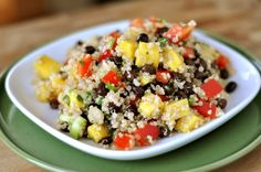 Mel's Kitchen Cafe   Mango and Black Bean Quinoa Salad=changed the dressing to 4 T evoo, 3T red wine vinegar and 1 T honey
