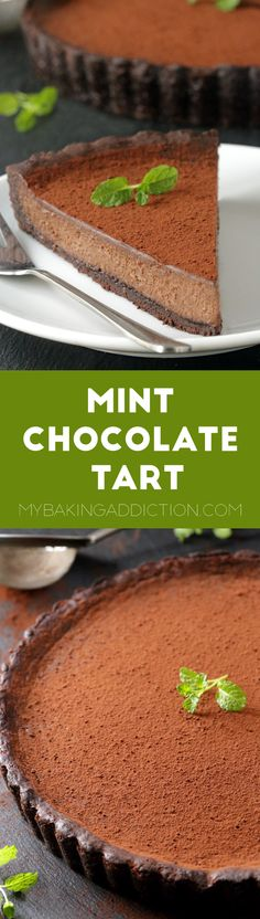 Mint chocolate tart with a rich and creamy filling and a homemade chocolate cookie crust. Recipe includes a gluten-free option. So delicious!