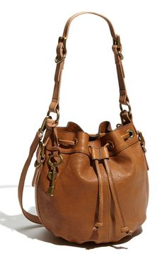 Fossil leather drawstring bag