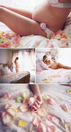I want a soft and feminine maternity boudoir theme for our shoot. I love the use of multi-color rose petals used in this shoot. It is so natural.