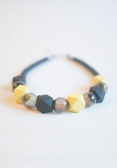 Yellow Wooden Bead Necklace