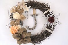 Winter snowflake adornment on rustic burlap by AdornAWreath, $51.95