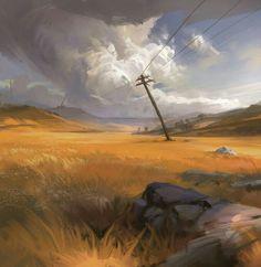 ArtStation - Clouds n' Plains, Eli Ring Landscape Concept, Fantasy Landscape, Landscape Art, Landscape Paintings, Environment Concept Art, Environment Design, Fantasy Concept Art, Fantasy Art, Landscape Illustration