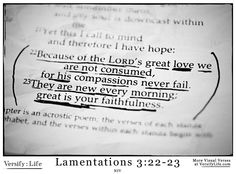 """""""Because of the Lord's great love we are not consumed, for his compassions never fail.  They are new every morning; great is your faithfulness."""" Lamentations 3:22-23"""