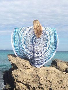 Roundie boho beach Formentera blue mandala blanket by AUROBELLE