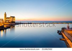 Trani, Puglia, at sunset - stock photo