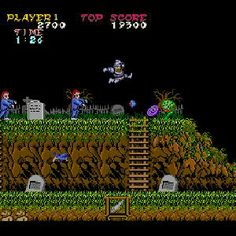 Ghosts 'n Goblins (Arcade). Beautiful, atmospheric graphics, devilishly difficult to play. Vintage Video Games, Classic Video Games, Retro Video Games, Vintage Games, Retro Games, Nintendo, Mega Drive Games, Ghost World, Video Game Posters