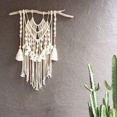 "Macrame Wall Hanging ""Majestic"" Natural Cotton + Copper on Driftwood"