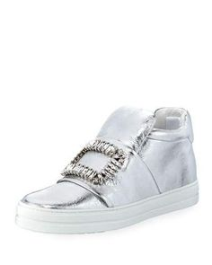 Strass-Buckle High-Top Sneaker, Silver