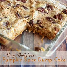 Easy Pumpkin Spice Dump Cake is not just for fall & winter! A super simple recipe that is scrumptious.