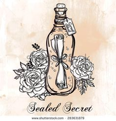 Message in a bottle (secret letter wrapped in a sealed bottle) with beautiful blooming rose flowers. Tattoo, romance and adventure collection. Vintage style. Hand drawn isolated vector illustration.   - stock vector