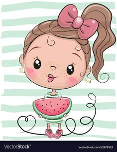 Illustration about Cute Cartoon Girl with watermelon on striped background. Illustration of isolated, cute, element - 122717387 Cartoon Cartoon, Cute Cartoon Girl, Cartoon Characters, Baby Animals, Cute Animals, Striped Background, Cute Drawings, Cartoon Drawings, Puffy Paint