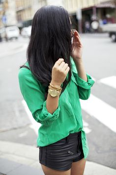 Green top+black leather shorts
