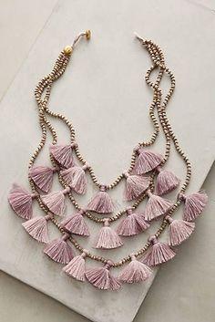 Idée et inspiration Bijoux : Image Description Gia Layered Bib Necklace Tassel Jewelry, Textile Jewelry, Fabric Jewelry, Diy Jewelry, Beaded Jewelry, Jewelery, Jewelry Accessories, Fashion Accessories, Handmade Jewelry