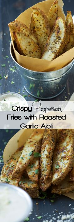 Amazingly crispy and creamy all in one bite! Crispy Parmesan Fries have a crunchy exterior and a buttery interior and pair perfect with the roasted garlic aioli!