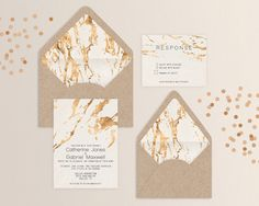 Rose gold foil effect and textured cream background make this invitation suite classy and modern. It coordinates with our Marbled Rose Gold Foil