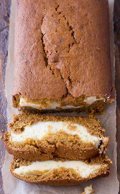 Cream Cheese Filled Pumpkin Bread Recipe - This delicious and moist pumpkin bread has a yummy cream cheese filling. It's so good and so, so pretty! Cheese Pumpkin, Pumpkin Cream Cheeses, Cheese Log, Cheese Pastry, Pumpkin Recipes, Fall Recipes, Sweet Recipes, Holiday Recipes, Moist Pumpkin Bread