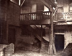 This photograph of the Oxford Arms (London, 1875) from spitalfieldslife.com looks as if it could take us all the way back to Shakespeare's Henry IV pt 2. Where's Falstaff?