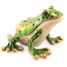 Green Frog Jewelry Trinket Box Decorative Collectible Enamel Animal Cute Gift 02004 by AUGCreations on Etsy https://www.etsy.com/listing/266972848/green-frog-jewelry-trinket-box