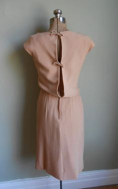 50s Taupe Cocktail Dress Open Back Bows Vintage Women's Clothing on Etsy, £36.71