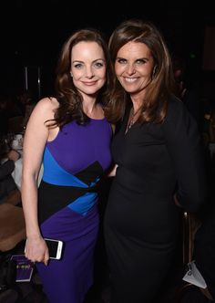 """Kimberly Williams-Paisley, left, and Maria Shriver attend the 23rd annual """"A Night at Sardi's"""" to benefit the Alzheimer's Association at the Beverly Hilton Hotel on Wednesday, March 18, 2015, in Beverly Hills, Calif. #ENDALZ"""