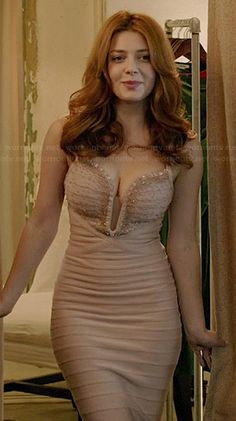 Louise's nude embellished bandage gown on Revenge.  Outfit Details: http://wornontv.net/39155/ #Revenge