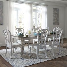 Liberty Furniture Magnolia Manor Rectangular Leg Dining Set in Antique White The Magnolia Manor collection showcases exceptional accomm Dining Room Bar, Dining Table Legs, Dining Room Design, Dining Rooms, Solid Wood Dining Set, 7 Piece Dining Set, Dining Sets, Dining Room Furniture, Dining Furniture