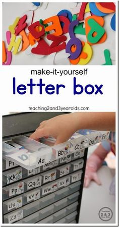 Teach preschoolers letter recognition with this DIY letter box from Teaching 2 and 3 Year Olds