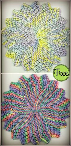 knitting patterns free This round sunburst dishcloth free knitting pattern is a great dishcloth for your dining table. Use this free pattern to make your own now! Knitted Dishcloth Patterns Free, Knitted Washcloths, Knitting Machine Patterns, Crochet Patterns, Scarf Patterns, Stitch Patterns, Washcloth Crochet, Easy Knitting, Loom Knitting
