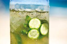 Hot summer days in Bondi beg for refreshing drinks like this. Load up on green tea antioxidants, hydrate with electrolyte-filled coconut water and cool off with cucumber, lime and gut-soothing aloe vera. Hot summer's night? Add a splash of gin!