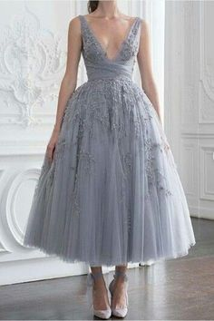 Gray Appliques Tulle Homecoming Dress,Mid-Length V-neck Evening Dress,Simple Sleeveless Graduation Dress Party Dress evening dress - Business Outfits for Work Pretty Dresses, Sexy Dresses, Fashion Dresses, Formal Dresses, Couture Dresses, Glamour Dresses, Short Dresses, Denim Dresses, Wedding Dresses