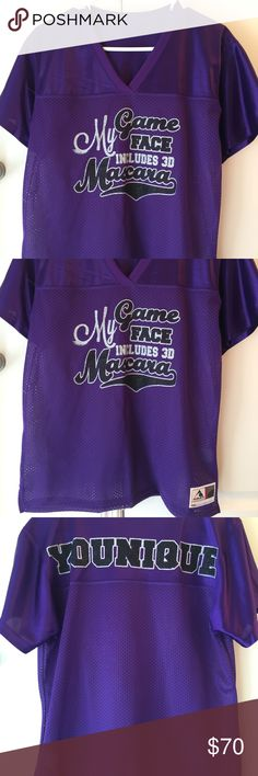 Younique 3D Mascara Jersey Juniors XL fits like a Women's Medium. Lots of Sparkly Bling!! Brand new without tags! Firm on price! Tops Tees - Short Sleeve