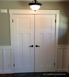 Jeld wen72 in x 80 in molded craftsman brilliiant white 3 panel smooth hollow core composite - Shaker bifold closet doors ...