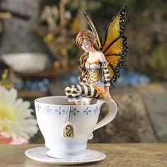 'Warm Toes Tea Cup' Fairy #fairygarden #factorydirectcraft