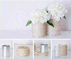 All you need is an empty tin can, paint colors of your choice and you have beautiful decor! Here are some of my favorite DIY tin can wedding decor ideas! Tin Can Crafts, Diy And Crafts, Arts And Crafts, Decoration Communion, Diys, Decoration Shabby, Rope Crafts, Creation Deco, Diy Wedding