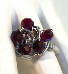 Wire Wrapped Ring - Garnet Wine Burgundy Valentines Day $24 by Linda B