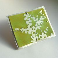 Sally Grant - Mimosa brooch - Silver brooch with and spring green enamel