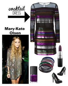 """""""Steal Mary-kates look; Striped Sequin cocktail Dress (contest)"""" by im-karla-with-a-k on Polyvore featuring Emilio Pucci, NARS Cosmetics, MAC Cosmetics, Michael Antonio and ABS by Allen Schwartz"""
