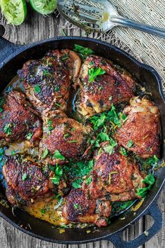 Cilantro Lime Chicken Thighs Recipe from The Mediterranean Dish. This chicken dinner is a family favorite. Perfectly flavored, fall-off-the bone tender! Step-by-step photos included.