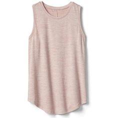 Gap Women Softspun Knit Muscle Tank ($17) ❤ liked on Polyvore featuring tops, shirts, tank tops, tanks, pink, regular, pink sleeveless top, crewneck shirt, curved hem shirt and no sleeve shirt