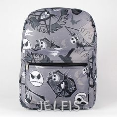 """Jelfis.com - The Nightmare Before Christmas 16"""" Large Gray School Backpack for Kids or Adults, $20.95 (http://www.jelfis.com/the-nightmare-before-christmas-16-large-gray-school-backpack-for-kids-or-adults/)"""
