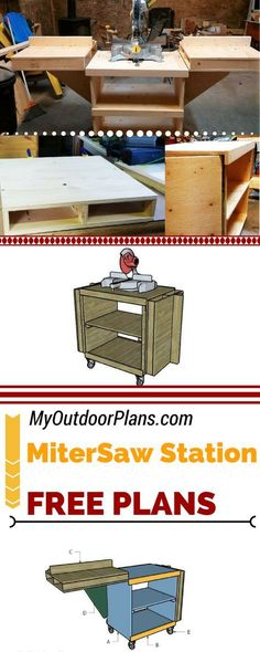 Easy to follow diagrams and instructions for building a folding miter saw station. If you have a small garage or workshop, these miter saw table plans will help you save space. See full plans at: MyOutdoorPlans.com #diy