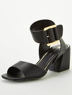 V By Very Granger Mid Block Heel Buckle Sandals - Black, Black, Size Women - Black - 7 Black Sandals Outfit, Baby Phat, High Leg Boots, Long Toes, Metal Buckles, Block Heels, Ankle Strap, Heeled Mules, Kids Fashion