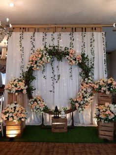Engagement Day Aya & Tata – Kranggan – The Best Ideas Wedding Backdrop Design, Desi Wedding Decor, Wedding Stage Decorations, Backdrop Decorations, Rustic Wedding, Backdrops, Wedding Mandap, Diy Engagement Decorations, Wedding Receptions